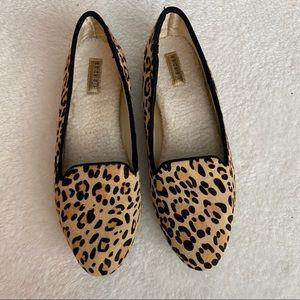 Birdies leopard cheetah calf hair loafers size 9